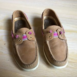 Sperry Tan Pink Leather Loafers Size 9